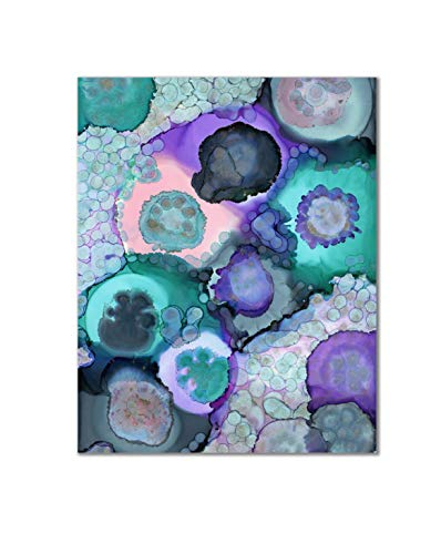 FerrisBuilt 11x14 Poster Print Unframed Purple Agate Print Wall Art with Additional Colors of Turquoise, Teal, Pink and Gray - Abstract Aesthetic Wall Decor