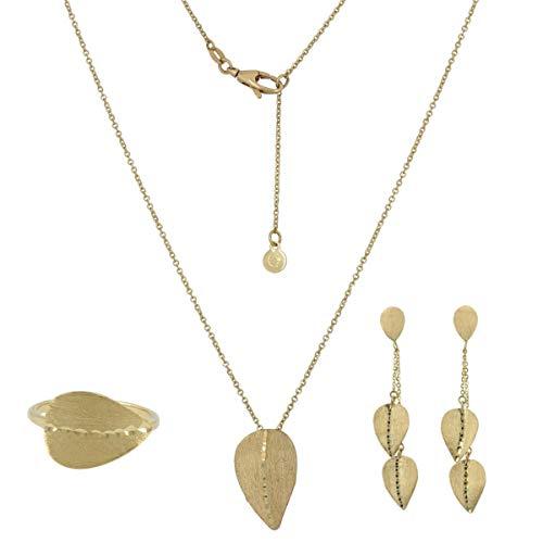 Gioiello Italiano - Parure con foglie in oro giallo 14kt, collana, orecchini, anello, da donna