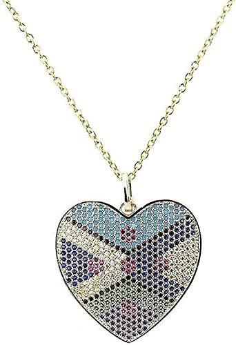 NC198 Collar Collar en Forma de corazón Colgante de circonio de Color Cobre Microconjunto Circón Galvanoplastia Collar de Amor Ropa Creativa Boutique Joyas para Mujeres Hombres Regalo