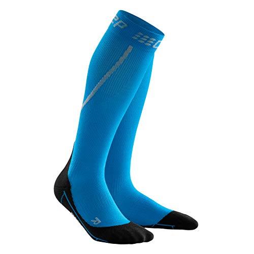 CEP – WINTER RUN SOCKS für Herren   Warme Laufsocken mit Kompression in blau / schwarz   Größe III