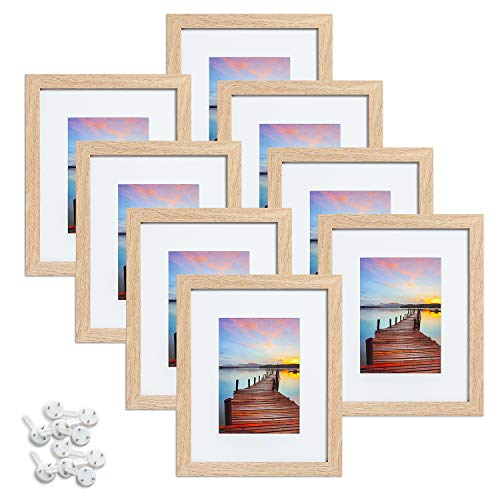 Sindcom 8x10 Picture Frame with High Definition Glass,Wood Textured Photo Frames Collage for Wall or Tabletop Display, Set of 8,Natural Wood
