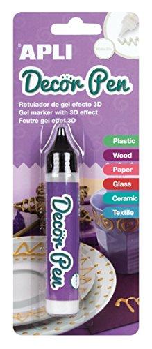 APLI - Pennarello 3D Decorpen, finitura metallizzata, colore: bianco, 1 pezzo