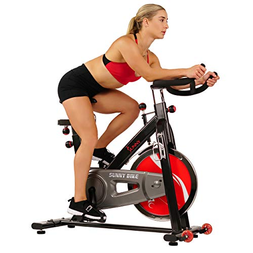 Sunny Health & Fitness 49 Lb Chromed Flywheel, Silent Belt Drive Indoor Cycle Bike