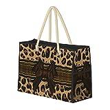 FJJLOVE Borsa grande Borsa da spiaggia elegante Jaguar Stampa spalla per le donne - Tote Bag borsa con maniglie