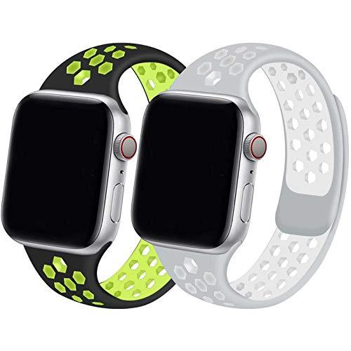 INZAKI 2-Pack Compatibile con Cinturino Apple Watch 42mm 44mm,Cinturino di Ricambio Sportivo in Silicone Traspirante per iWatch Serie 6/5/4/3/2/1,SE,Impermeabile,M/L,BVolt/SW