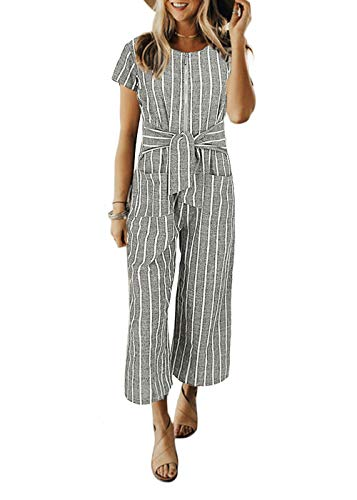 Cosygal Women's Striped Linen Short Sleeves Wide Leg Palazzo Jumpsuit Romper with Zip Pockets Tie Grey X-Large
