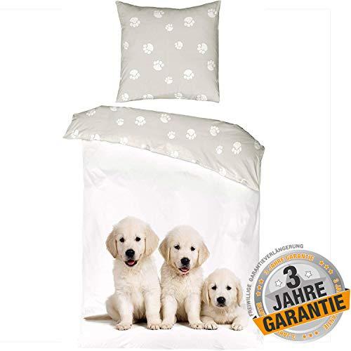 Aminata Kids Hundebettwäsche 135x200 + 80 x 80 cm aus Baumwolle mit Reißverschluss, unsere Kinder-Wende-Bettwäsche-Set mit Hunde-Fan-Motiv, Hund, Welpen-Motiv ist weich, grau, weiß - Pfoten-Abdruck