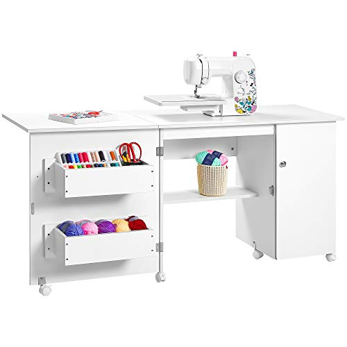 Kealive Folding Sewing Table, Sewing Craft Cart Wood Sewing Desk with Storage Shelves and Lockable Casters, Sewing Cabinets with Storage Cabinet Multifunction Computer Desk for Small Spaces, White