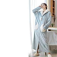 プラスサイズのかわいい冬のパジャマ、エクストラロングウォームフランネルバスローブ、ジッパーバスローブ付きメンズローブパジャマ,I-Medium