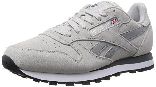 Reebok Herren Classic Leather Suede Laufschuhe, Beige (Steel/Tin Grey/Alloy/White/Black), 41 EU