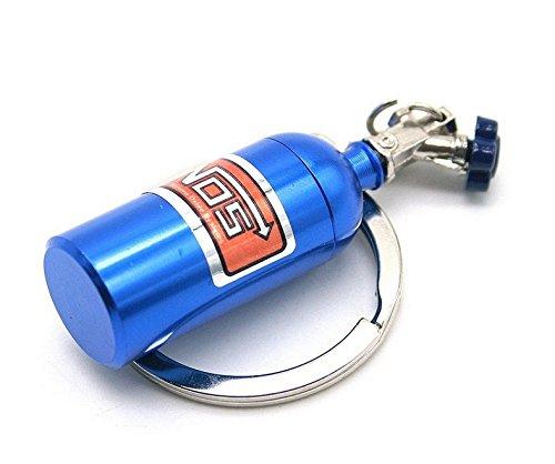 Yeah67886,portachiavi a forma di mini bombola di ossido di diazoto, protossido di azoto, modellino di componenti per auto, blu