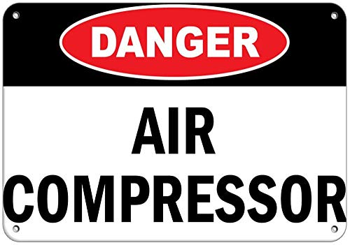 "Vintage Retro Metal Sign 12""x16""Danger Air Compressor Hazard Sign Flammable,Retro Iron Painting Metal Poster Warning Plaque Art Decor for Garage Home Garden Store Bar Cafeacute Inches"