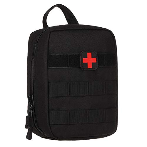 Selighting MOLLE Médico Bolsa de Primeros Auxilios Mochila Militar Multifunción Bolsa Táctica Compacta Botiquín Médico con Parche al Aire Libre para Caza,Campimng (Negro)