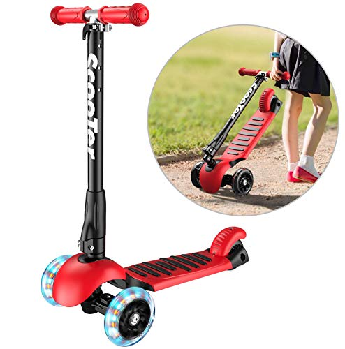 Lowest Prices! Banne Scooter Height Adjustable Lean to Steer Flashing PU Wheels 3 Wheel Kick Scooter...
