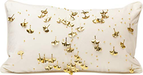Kare Design Kissen Ginkgo Beige 28x50cm, Rechteckiges Dekokissen in den Farben Beige Gold, Kissen mit goldenen Ginkgo Blättern, (H/B/T) 50x30x8cm