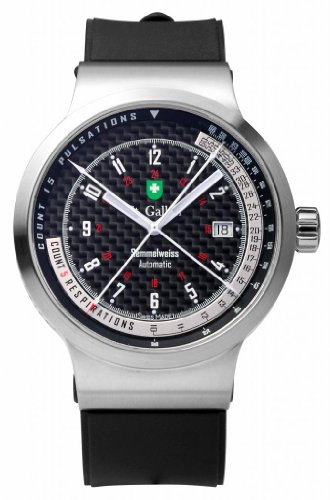 St. Gallen Disinfectable Watch - Semmelweiss Collection - Mechanical Automatic Watch, Counters For Pulsation & Respiration Calibration, Carbon Fiber Dial