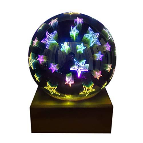 QIANGU Nachtlichter, 3D Transparente Glaskugel Nachtlichter LED Buntes Projektorlicht Home Decor