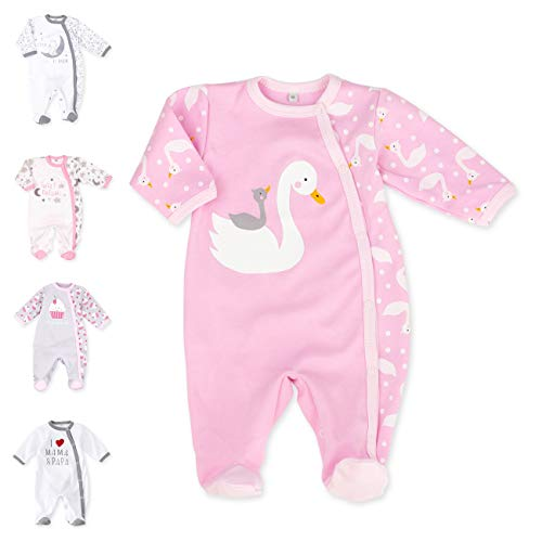 Baby Sweets Baby Strampler für Mädchen/Baby-Overall in Rosa als Schlafanzug und Babystrampler im Schwan-Motiv für Neugeborene und Kleinkinder in der Größe: 1 Monat (56)