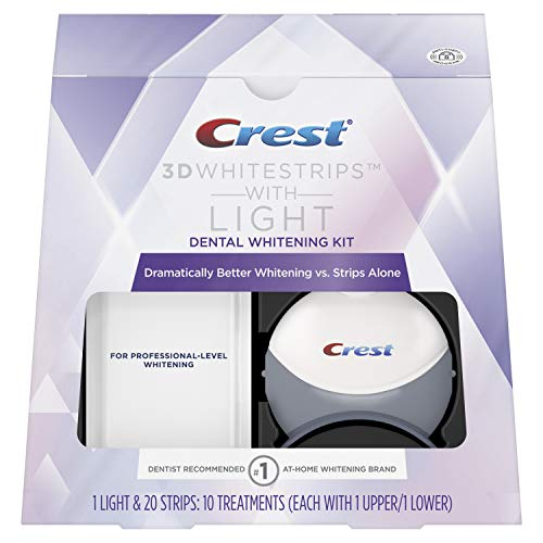 Crest 3D White Whitestrips with Light, Teeth Whitening Strips Kit, 10 Treatments, 20 Individual...