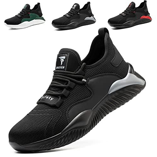 Chaussures de Sécurité Homme Femmes Embout Acier Protection Confortable Léger Respirante Chaussures de Travail Anti-Perforation