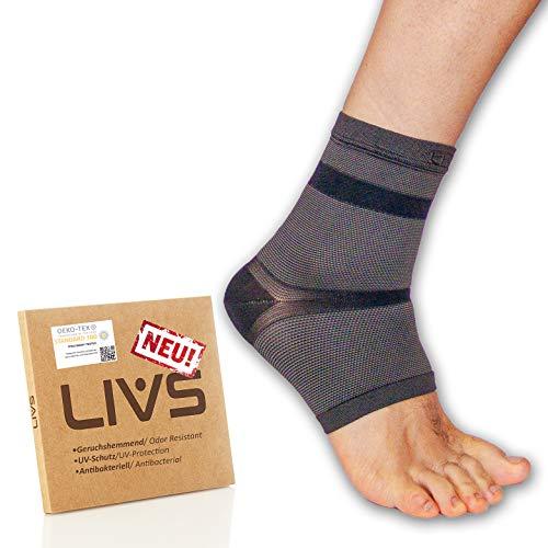 LIVS Fußgelenk-Bandage (Paar) Ultraleicht - Kompression-Bandage Fußgelenk für Damen und Herren - Sprunggelenk-Bandage Absorbiert Schweiß & Geruch - Knöchel-Bandage für Sport & Regeneration