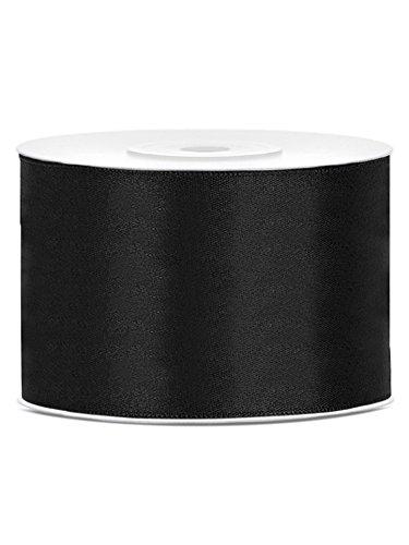 PartyDeco Satinband schwarz, 50 mm, 25 m