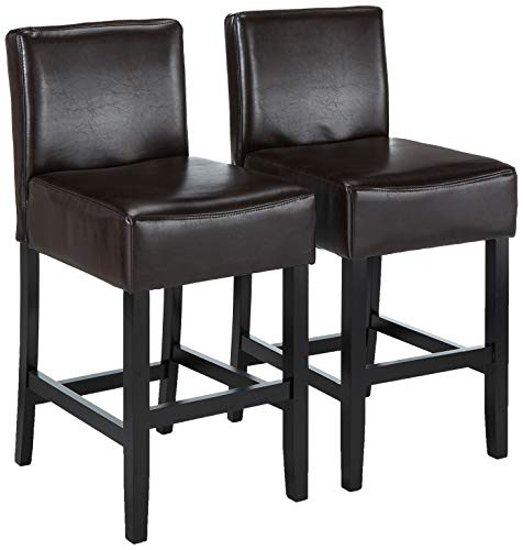 Best Selling Lopez Leather Counter Stool, Brown, Set of 2