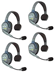 INCLUDES: 1 ULSM Single-Ear Master Headset, 3 ULSR Single-Ear Remote Headsets, 4 Rechargeable Lithium Batteries, 8 Bay Multi-port Charger and a Softside Case HANDS-FREE FULL DUPLEX: Wireless headsets operate on 1.9 GHz frequency to avoid interference...