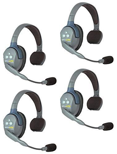 Eartec UL4S UltraLITE Full Duplex Wireless Headset Communication for 4 Users - 4 Single Ear Headsets