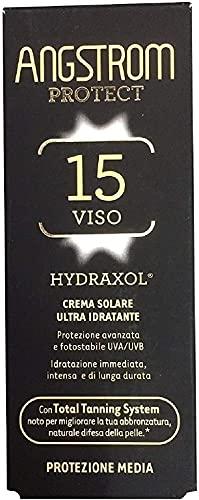 ANGSTROM Crema Solare Protezione Viso SPF 15, Stimola la Produzione di Melanina con il Total Tanning System, con Filtri Solari UVA/UVB, Molto Resistente all'Acqua, Dermatogicamente Testato, 50 ml