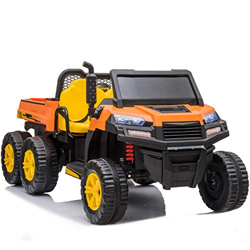 12V 14Ah Kids Ride On Truck w/ Parental Remote Control 2 Seater Electric Car to Drive Ride On Toy Cars Dump Truck 4 Motors with Large Dump Bed for Boys Girls, Orange