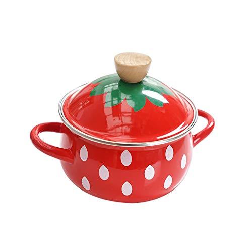 CUJUX Casserole - Gietijzeren schalen Braiser Pan met niet-Stick Emaille Coating, Signature Style Stoofpot, Rood