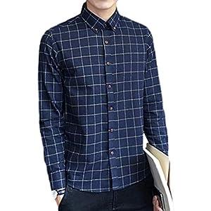 [ラッキーチャーム] (ネイビー, M) メンズ 長袖 チェック 厚手 裏起毛 シャツ ネイビー 紺 オシャレ 暖かい ボタンダウン トップス ファッション ウェア 格子