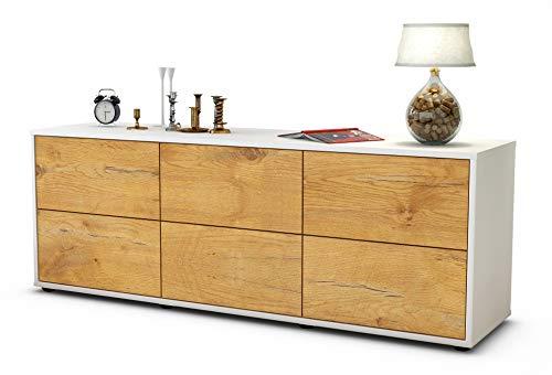 Stil.Zeit Möbel TV Schrank Lowboard Alva, Korpus in Weiss matt/Front im Holz Design Eiche (135x49x35cm), mit Push to Open Technik und hochwertigen Leichtlaufschienen, Made in Germany
