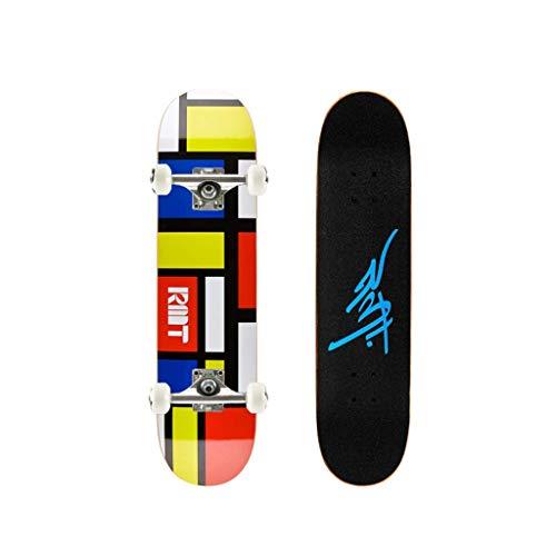 8bayfa 28 Zoll Complete Skateboard, Double Kick-Trick-Brett for Erwachsene, Kinder mit 7 Schichten Ahorn und 52x32mm Rad Universal-Autobahn Straße Scooter (Color : D)