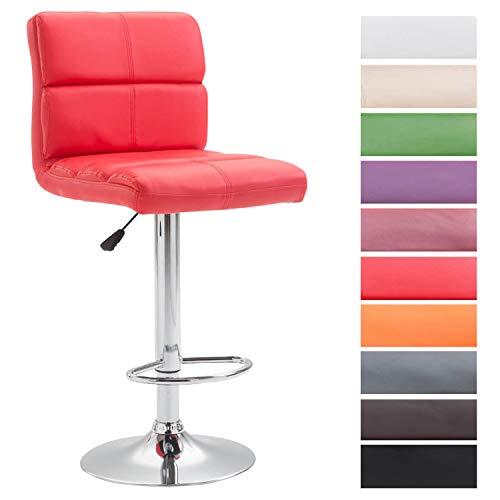 CLP Taburete De Bar Umbria Tapizado En Simil Cuero | Silla Alta Regulable En Altura I Taburete con Respaldo & Reposapiés I Color: Rojo