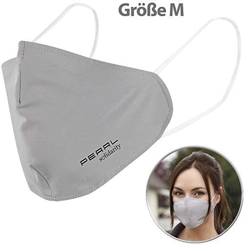 PEARL Mund Nasen Maske: Mund-Nasen-Stoffmaske mit Nanofilter, 98,9%, waschbar, Größe M (Mund Nasen Schutz waschbar)