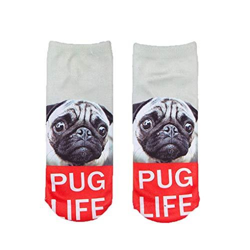wanzhaofeng 3D-Socken Damen-Herren-Socken Hunde Socken 3D-Druck gedruckt Harajuku Stil Low Socken