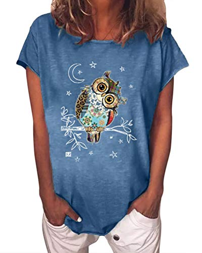 ORANDESIGNE Damen Kurzarm T-Shirt Rundhals Blusen Beiläufig Giraffen Druck Shirt Sommer Lose Shirt Tees A Blau S