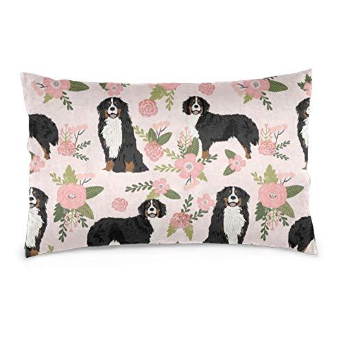 Lesif Fundas de cojín de terciopelo rectangulares, fundas de almohada decorativas suaves para sofá, dormitorio, coche, 40,6 x 60,9 cm (perro de montaña bernesa perro de mascota)