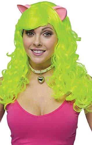 femme long gris, rose ou vert bouclé Souris Animal Chat Costume Déguisement Perruque avec oreilles - Vert, One size, One size