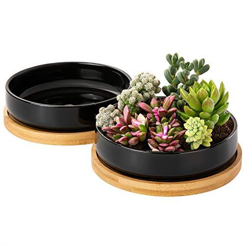 2 Macetas de Ceramica para Suculentas Yangbaga Ronda Plantador de Cactus de Flores con Bandeja de Bambú Negro