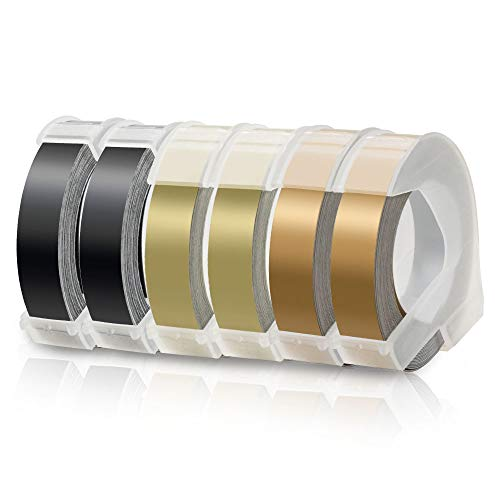 6X Labelwell 9mm x 3m Compatible Label Tape Replacement for DYMO 3D Embossing Plastic Self-Adhesive for Labeller Dymo Junior/Omega 1540 Motex E-101 E-202, White on Black/Gold/Champagne Gold