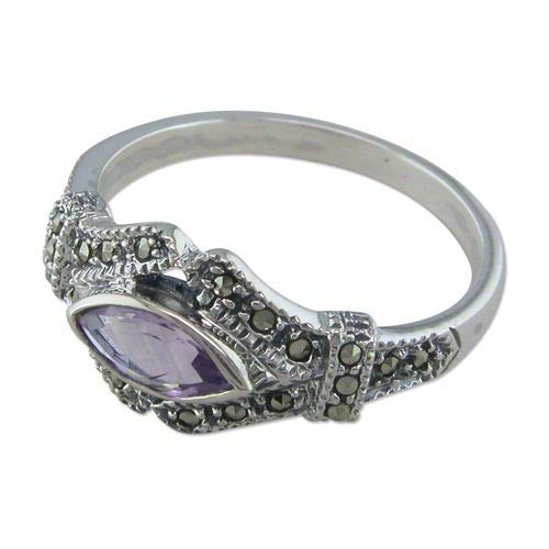 Genuine Sterling Silver Ring Marquis Amethyst in Marcasite Vees Brand New