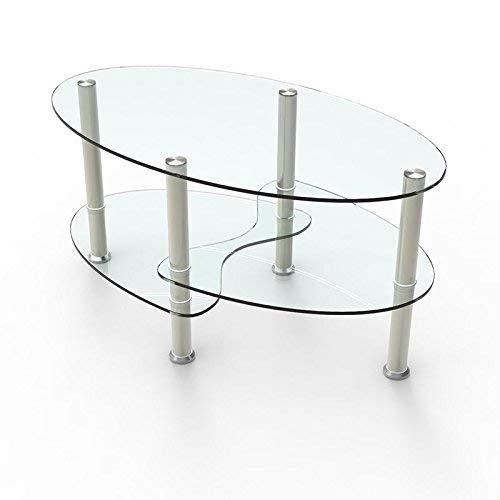 mecor Mesa de centro Mesa de centro de vidrio ovalado transparente con patas cromadas