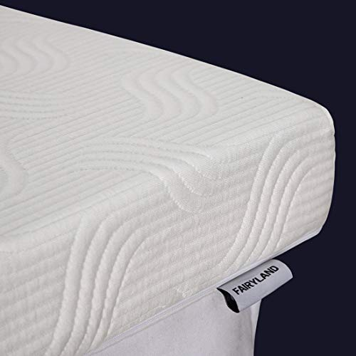 FAIRYLAND 3 Inch Memory Foam Mattress Topper Queen Size, Cooling Relieving Mattress Pad for Bed with Bamboo Fiber Cover