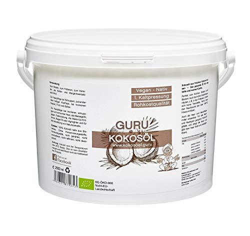 Guru Kokosöl nativ und naturrein -Bio Qualität- 1. Kaltpressung - Rohkost - Vegan - Bio-Kokosfett (PE-Dose, 2500ml)
