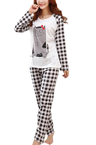 Romastory Women's Cute Print Pajama Sets Long Sleeve Sleepwear for Young Girls (XL/US M, Bow Mouse)