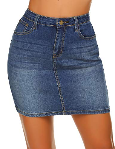 Parabler Jeansrock Damen Kurz Denim Sommerrock Pencil Skirt Jerseyrock Stretch Jeans Minirock Sexy Bleistiftrock im Retro-Look Sommer Blau 42 XL