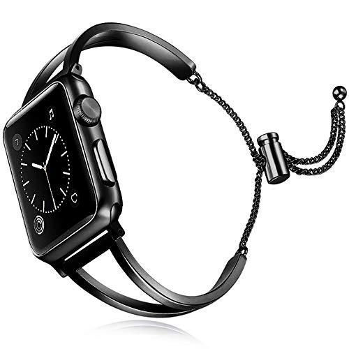 YMYGCC Correa Reloj Accesorios para la Banda de Reloj 40mm 38mm 44mm 42mm Reloj 5/4/3/2/1 Brazalete de Metal de Pulsera de Acero Inoxidable 711 (Band Color : Black, Band Width : 40mm)